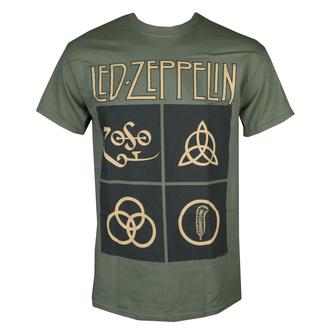 tričko pánské LED ZEPPELIN - GOLD SYMBOLS & BLACK SQUARES - PLASTIC HEAD, NNM, Led Zeppelin