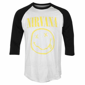 T-shirt pour homme avec manches 3/4 Nirvana - Smiley jaune - Wht/BL Raglan - ROCK OFF, ROCK OFF, Nirvana