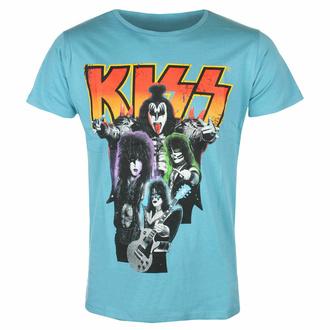 t-shirt pour homme Kiss - Néon Band - BLEU - ROCK OFF, ROCK OFF, Kiss
