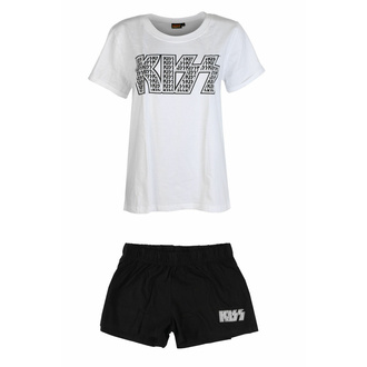 Ensemble de pyjama pour femmes Kiss - Logo Infill Lady WHT/BL - ROCK OFF, ROCK OFF, Kiss
