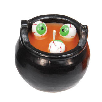 Bougie Halloween Chaudron et yeux - Orange