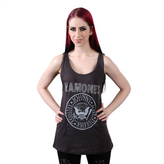 top femmes RAMONES - LOGO DIAMANTE SILVER - CHARCOAL - AMPLIFIED, AMPLIFIED, Ramones