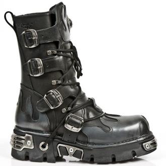 bottesen cuir - Flame Boots (591-S2) Black-Grey - NEW ROCK - M.591-S2