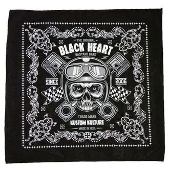 Foulard BLACK HEART - PISTON SKULL - NOIR, BLACK HEART