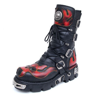 bottesen cuir - Vampire Boots (107-S1) Black-Orange - NEW ROCK