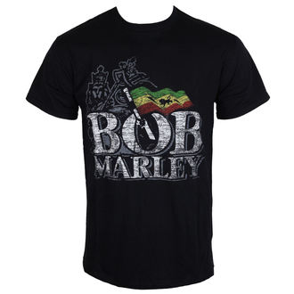 tee-shirt pour hommes Bob Marley - Distressed Logo - Noire - ROCK OFF, ROCK OFF, Bob Marley