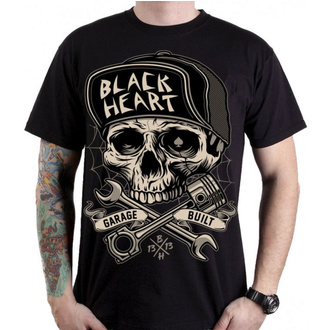 tee-shirt street pour hommes - GARAGE BUILT - BLACK HEART, BLACK HEART