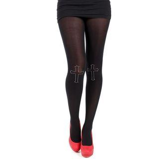 collants PAMELA MANN - 80 Denier Tights With Cross On Knee - Noir, PAMELA MANN