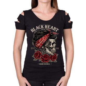 tee-shirt street pour femmes - PIN UP SKULL DESTROY - BLACK HEART, BLACK HEART