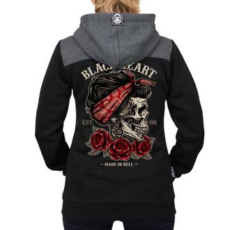 sweat-shirt avec capuche pour femmes - PIN UP SKULL RG - BLACK HEART, BLACK HEART