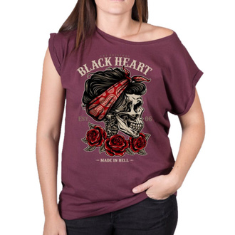 tee-shirt street pour femmes - PIN UP SKULL EXT - BLACK HEART, BLACK HEART
