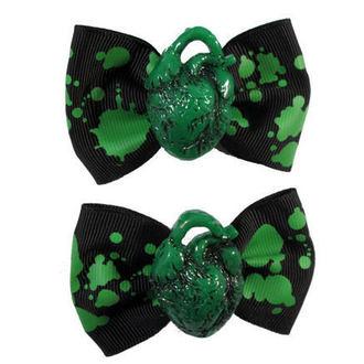 épingles KREEPSVILLE SIX SIX SIX - Hair Bow Heart - Green, KREEPSVILLE SIX SIX SIX