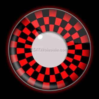 de contact lentilles RED AND NOIRE CHECKERS UV - EDIT, EDIT