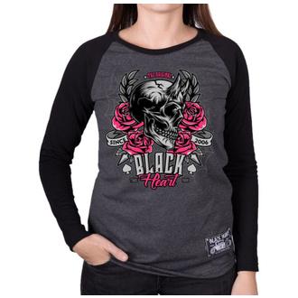 tee-shirt street pour femmes - DEVIL ROSE - BLACK HEART, BLACK HEART