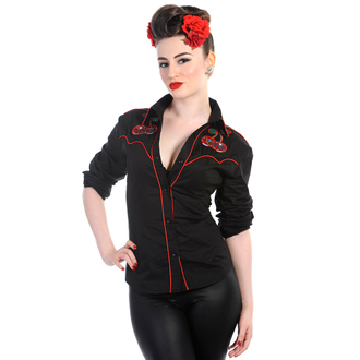 chemise pour femmes avec longue manche BANNED - Cerise Crânes - Noire - WBN1504BL