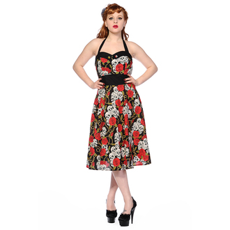 robe pour femmes BANNED - Skull And Roses - Noir / Rouge - DBN578RED
