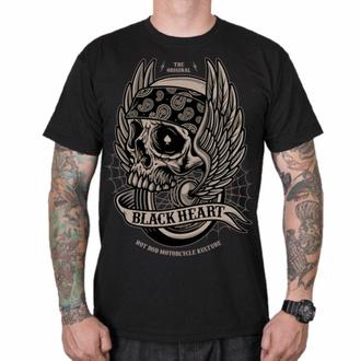 T-shirt pour homme BLACK HEART - WINGS SKUL L - NOIR, BLACK HEART