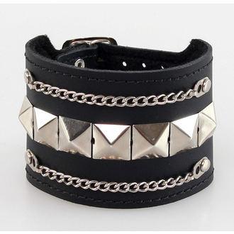 bracelet PYRAMIDES + chaines, BLACK & METAL