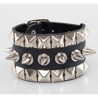 bracelet PYRAMIDES + PICS, BLACK & METAL