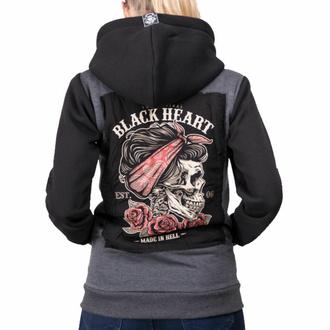 Sweat à capuche pour femme BLACK HEART - PIN UP SKULL - GRIS, BLACK HEART