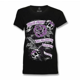 T-shirt pour femmes BLACK HEART - RIBBON ROSE - NOIR, BLACK HEART