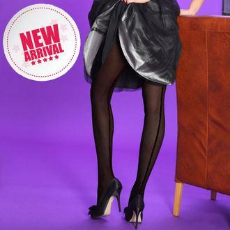 collants collants - opaque sertisseuse - Noire with noir couture, LEGWEAR