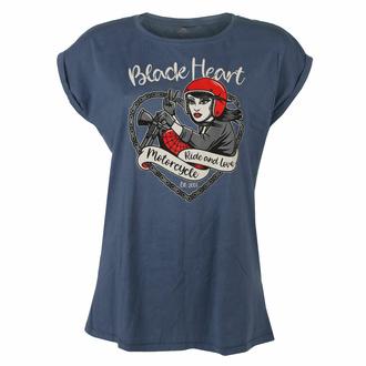 T-shirt pour femmes BLACK HEART - BIKE GIRL - BLEU, BLACK HEART