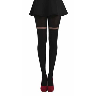 collants PAMELA MANN - Opaque Tights With Sheer Stripe - Noire, PAMELA MANN