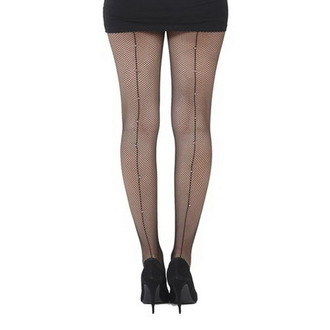 collants PAMELA MANN - Fishnet Seamed Tights Noire With Diamante Seam - Noire, PAMELA MANN