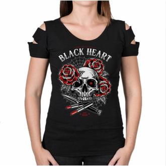 T-shirt pour femmes BLACK HEART - LIPSTICK SKUL L DESTROY - ROUGE, BLACK HEART