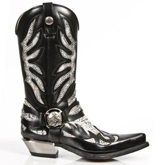 bottes en cuir pour femmes - PITON BLANCO NEGR WEST - NEW ROCK, NEW ROCK