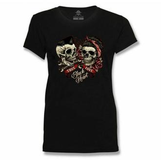 T-shirt pour femmes BLACK HEART - TRUE LOVE - NOIR, BLACK HEART