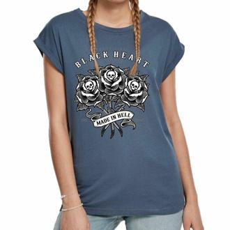 T-shirt pour femmes BLACK HEART - ROSE SKULL EXT - BLEU, BLACK HEART