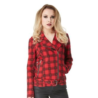 veste pour femmes printemps / automne VOODOO VIXEN - Noir / Rouge Plaid Crânes, JAWBREAKER