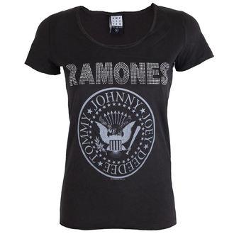 tee-shirt métal pour femmes Ramones - LOGO SILVER DIAMANTE - AMPLIFIED, AMPLIFIED, Ramones
