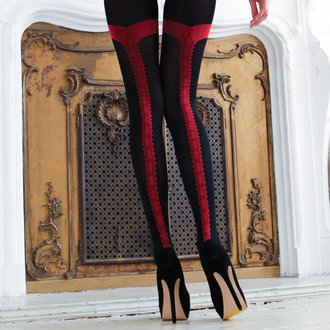 collants LEGWEAR - charley opaque - black with red seam, LEGWEAR