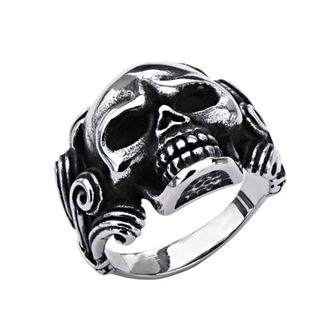 bague INOX - SKULL W/WIRE SIDE