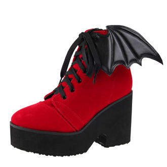 chaussures à semelles compensées pour femmes - Bat Wing Boot Red Velvet - IRON FIST