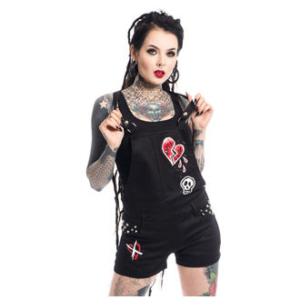 short femmes Heartless - ANTI LOVE BIB AND BRACE - NOIR, HEARTLESS