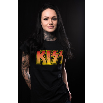 tee-shirt métal pour femmes Kiss - Distressed Logotype - HYBRIS, HYBRIS, Kiss
