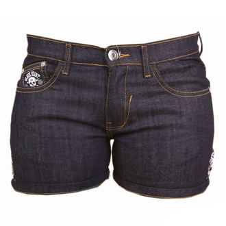 short femmes BLACK HEART - CROSS SKULL - DENIM, BLACK HEART