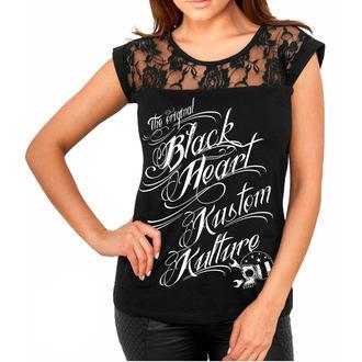 tee-shirt street pour femmes - KUSTOM KULTURE - BLACK HEART, BLACK HEART