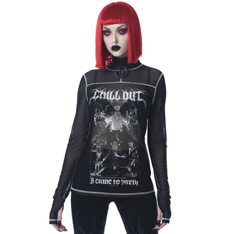 T-shirt pour femmes manche longue KILLSTAR - Chill Out Mesh - Noir, KILLSTAR
