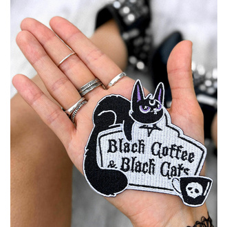 applique thermocollante KILLSTAR - Café et chats - Noir, KILLSTAR