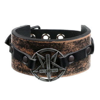 Bracelet Pentacle Traverser - brown, Leather & Steel Fashion