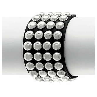 Bracelet NOIR SERPENT RIVETS RONDS 4 RANGS, Leather & Steel Fashion