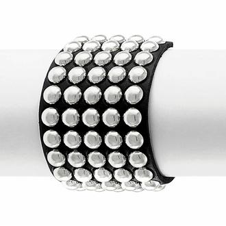Bracelet NOIR SERPENT RIVETS RONDS 5 RANGS, Leather & Steel Fashion