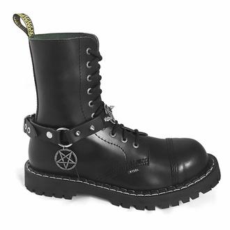 Collier Triple Pentagram Classic Boot Strap , Leather & Steel Fashion