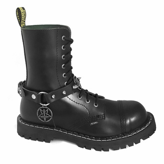 Collier Triple Pentagram Sacrifice Boot strap, Leather & Steel Fashion