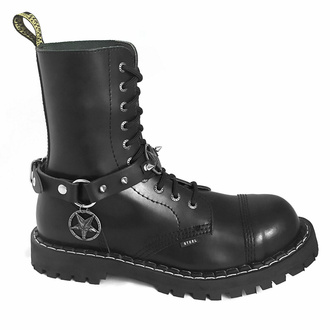 Collier Triple Baphomet Cult Boot strap, Leather & Steel Fashion